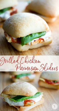 These Grilled Chicken Parmesan Sliders take only 20 minutes to make and are much healthier than the classic sandwich. Great for parties too! Grilled Chicken Parmesan, Grilled Chicken Sandwiches, Healthy Sandwiches, Sandwiches For Lunch, Chicken Parmesan Recipes, Chicken Sliders, New Chicken Recipes, Chicken Sandwich Recipes, Turkey Recipes