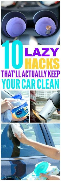 These 10 lazy car cleaning hacks are THE BEST! I\'m so glad I found these GREAT tips! Now I have great ways to keep my car clean and tidy! Definitely pinning!