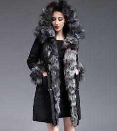 Warm Duck Down Parkas Outwears Hooded Fu Trim Womens Outwears Winter Coats Size  #Unbranded #Parka