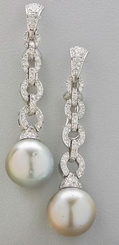 Earrings; 18K Gold, South Sea Pearl, Diamond Pave Chain, Oval Links, Omega Back.