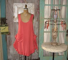 linen jumper pinafore apron dress tunic smock in coral papaya. $139.00, via Etsy.