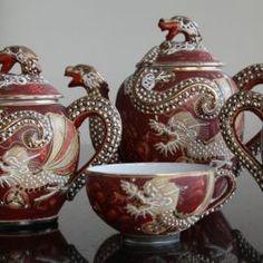 Early 20th Century Reddish Brown Japanese Dragon Tea Set