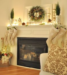 Beautiful Christmas fireplace mantel and decor. Christmas Fireplace, Christmas Mantels, Christmas Decorations, Merry Little Christmas, Noel Christmas, White Christmas, Classy Christmas, Natural Christmas, Homemade Christmas