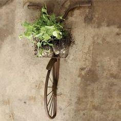 Hansen Bike with Basket Wall Sculpture Aged Brown