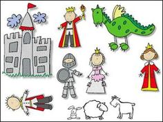 Characters in a kingdom [note the dragon : ) ] St George S Day, Chateau Moyen Age, Castle Crafts, Saint George And The Dragon, Dragons, Paper Puppets, Dragon Knight, Princess And The Pea, Stick Figures