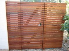 Merbau gate & privacy screen built by Tom & his Toolbox. Timber Gates, Timber Screens, Timber Deck, Wooden Gates, Wooden Fences, Wooden Gate Designs, Pallet Gate, Modern Fence Design, Mid Century Exterior