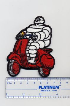 Vintage Red Vespa Michelin Man Cloth Patch by smARTpatches on Etsy