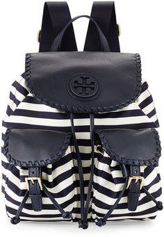 Tory Burch Striped Nylon Backpack