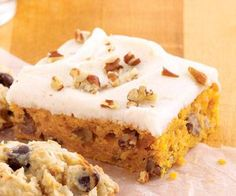 Sour Cream Pumpkin Bars: Moist and delicious.