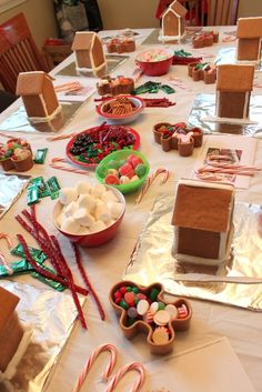 Gingerbread House Party w/ lots of details on how to pull it off with kids! (My own note: You can also make it simpler by using graham crackers rather than making real gingerbread).