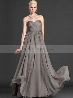 Strapless Sweetheart Criss Cross Bodice Long Flowing Chiffon Evening Dress