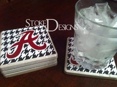 Alabama Script A coasters - want for livingroom Ceramic Tile Art, Clay Tiles, Monogram Coasters, Tile Coasters, Homemade Gifts, Diy Gifts, How To Make Coasters, Tile Crafts, Diy Projects To Try