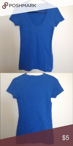 American Eagle Royal Blue V-Neck Tee Comfortable, basic tee from American Eagle in a bright Royal Blue color. Has been pre-loved, but is in great condition! American Eagle Outfitters Tops Tees - Short Sleeve