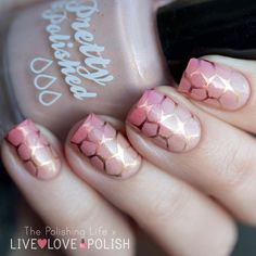 Pink and gold stamped turtle shell nails from @lfcbabe.