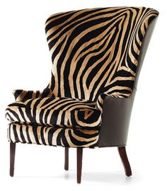 Fine Upholstered Accents Garbo Wingback Chair by Jessica Charles - Design Interiors - Wing Chair Tampa, St. Animal Print Furniture, Sofa Lounge, Decoration Originale, Take A Seat, Zebra Print, Tiger Print, Cool Furniture, Furniture Design, Home Furnishings