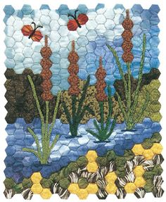 Portable quilting for fabric florists – Ruth Myers Portable quilting for fabric florists Author Jaynette Huff makes the most of hexagon quilts in the re-release of Quilts from Grandmother's Garden. Originally published in 2005 Quilting Projects, Quilting Designs, Quilting Tips, Patchwork Hexagonal, Pach Aplique, Landscape Quilts, Patchwork Quilting, Hexagon Quilting, Hexagon Quilt Pattern