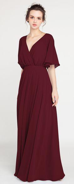 V-Neck Sleeved Long Burgundy Bridesmaid Dress with Open Back