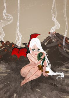 Daenerys Targaryen with her dragons in the fire scene, from Game of Thrones.  (by Carolina Búzio)