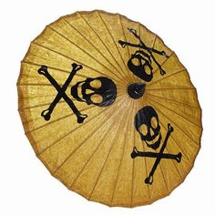 Love skulls? Love pirates? Want to keep cool on hot, sunny days? Then you are going to LOVE our Skull and Cross bone painted parasol. Hand