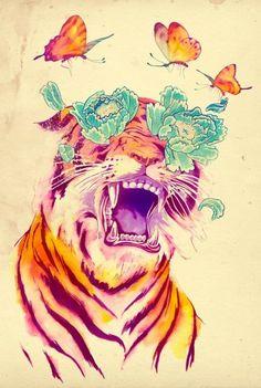 pivoine/tigre/papillon