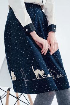 Feline Fling Skirt (Dots) - misspatina.com