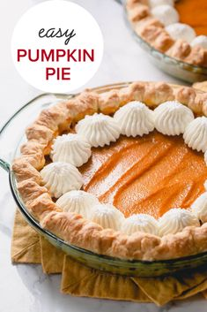 This easy pumpkin pie recipe is an effortless way to bake not one, but TWO delicious homemade pies. Easy Pumpkin Pie, Homemade Pumpkin Puree, Pumpkin Pie Recipes, Homemade Pies, Recipes With Whipping Cream, Cream Recipes, Fun Desserts, Dessert Recipes, Chocolate Desserts