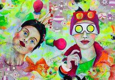 MMM / Birgit Lorenz / Ausstellung «Behind The Smile Bunt, Disney Characters, Fictional Characters, Portrait, Original Paintings, Disney Princess, Drawings, Pictures, Neon