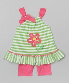 Look at this #zulilyfind! Green Stripe Flower Tank & Pink Shorts - Infant, Toddler & Girls #zulilyfinds