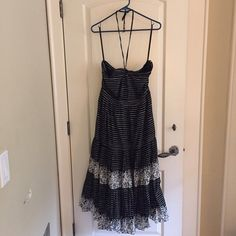NWOT Gap Strapless/Halter Dress Brand new without tags. Never worn. Size 12. Black and white stripe/print. So beautiful and comfy for spring and summer! Can be worn strapless or as a halter with the strings. GAP Dresses Maxi