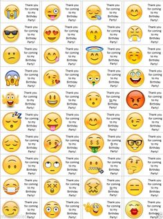 eda10828c8 40 x Personalised Emoji labels/stickers/birthday/party/cake/sweet/bags