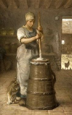 La baratteuse - The churner (and the cat) | oil painting,1866-68 | Jean-François Millet