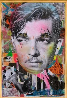 by Dain. *One of the most influential street artists to emerge from New York, DAIN combines the visual language of graffiti with collaged old portraits of Hollywood glamour stars.