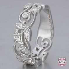 Diamond Wedding Band Art Nouveau Style - Special Order