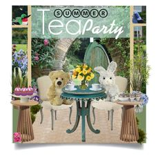 """""""Garden Tea Party"""" by stuffedsafari ❤ liked on Polyvore featuring interior, interiors, interior design, home, home decor, interior decorating, Nearly Natural, ABC Italia, Ethan Allen and Pier 1 Imports"""
