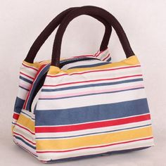 $7.20 Nylon Striped Pattern Color Block Tote Bag