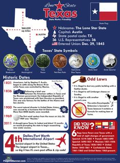 Infographic with lots of information about the Lone Star State and the history of the state along with some odd laws and state symbols. State Mottos, Only In Texas, Republic Of Texas, Texas Forever, Loving Texas, Texas Pride, Lone Star State, Texas Homes, Texas Travel