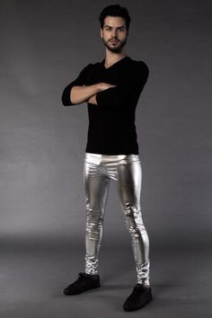 The only thing that can kill a werewolf - silver leggings for men. For late-night dance explorers moonwalking through dark lands. Mens Leather Pants, Tight Leather Pants, Mens Leotard, Silver Leggings, 4 Way Stretch Fabric, Skin Tight, Good Looking Men, Tight Leggings, Dance Outfits