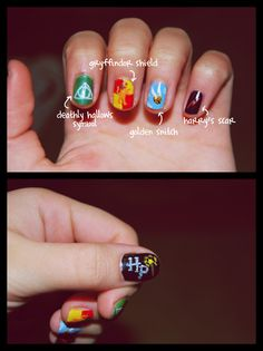 harry potter nails! mine looked something like this for the premiere of Deathly Hallows part 2 =)