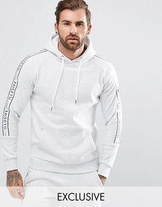 Vska Mens Relaxed-Fit Patchwork Printed Activewear Sweatshirt Hoodie