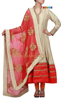 Buy it now  http://www.kalkifashion.com/beige-anarkali-suit-with-zari-work.html  Beige anarkali suit with zari work