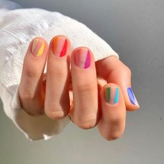 Cute And Pretty Nail Art Designs For Acrylic Short Nails - Nail Art Connect If you think acrylic nail art is only for long nails, you're wrong. Short nails can still be pretty nail Striped Nail Designs, Striped Nails, Nail Art Designs, Nail Art Stripes, Nails Design, Design Design, Polka Dot Nails, Graphic Design, Design Ideas