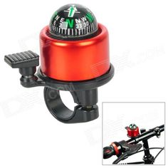 Coolchange Aluminum Alloy   Plastic Cycling Bicycle Bell w/ external Clapper   Compass - Red   Black Price: $3.00