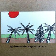 Pine tree in paradise. #paradise #pinetree #palmtree #tinycanvas #businesscardart #bicmarkit
