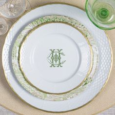 Custom design services - offering custom monogrammed dinnerware with your custom monogram. Sasha Nicholas also offers custom monogram crest and heraldry design services to make your dinnerware and giftware special.