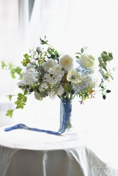 Silk flower bouquet  Facebook: Forest for Rest flowers: anemone, garden rose, patience, blue and white, leafy Silk Flower Bouquets, Silk Flowers, Patience, Rest, Blue And White, Table Decorations, Bride, Facebook, Garden