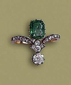 Emerald and diamond ring, ca. 1900-1910, emerald, rose cut diamonds, gold, silver, typical ring beginning twentieth century,  emerald 1.5ct, designed as lily, 2x1.5 cm - 5 grams - diamond 0.50ct