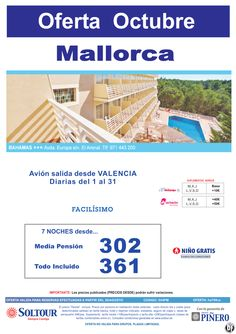 Mallorca - Oferta Hotel Bahamas, salidas diarias del 1 al 31 Octubre desde Valencia ultimo minuto - http://zocotours.com/mallorca-oferta-hotel-bahamas-salidas-diarias-del-1-al-31-octubre-desde-valencia-ultimo-minuto/