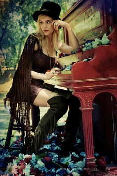 "books0977: Playing the piano in fashion. Free People July 2011 Catalogue. Photograph by Alexandra Valenti. ""When we were in Austin in April..."