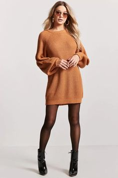 Product Name:Oversized Ribbed Knit Sweater Dress, Category:dress, Price:22.9