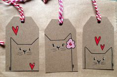 Simple little cat tags - I love the black lines and minimal color